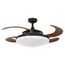 Fanaway 21093301 Evo2 Retractable 4 Blade Indoor Ceiling Fan with Dimmable LED Light Kit and Rem ...