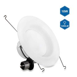 JJC 5/6 inch LED Recessed Lighting,Baffle Trim,18W(75W Equiv.) Dimmable LED Can Lights,3000K-War ...