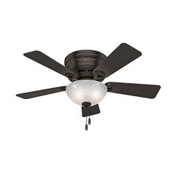 Hunter Indoor Low Profile Ceiling Fan with light and pull chain control – Haskell 42 inch, ...