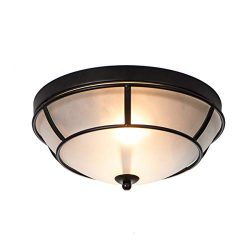 ENGELCH 2-Light Glass Black Finished Flush Mount Ceiling Light,Antique Ceiling Fixture for Bedr ...