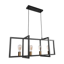 OYI Industrial Kitchen Island Light, 4 Lights Modern Pendant Light Hanging Lamp Rustic Ceiling L ...