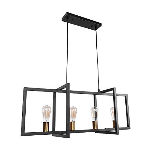 OYI Industrial Kitchen Island Light, 4 Lights Modern Pendant Light Hanging Lamp Rustic Ceiling L ...
