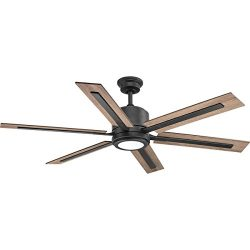 Progress Lighting P2586-7130K Protruding Mount, 6 Toasted Oak/Driftwood Blades Ceiling fan with  ...