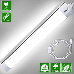 Utility LED Shop Light Fixture 2FT 4FT with Plug, Airand Waterproof Linkable LED Tube Light 5000 ...