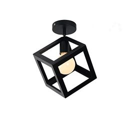 ECOBRT Modern Kitchen Ceiling Lights,Black Square Metal Cube Ceiling Light Fixtures for Indoor B ...