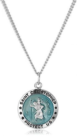 Men's Sterling Silver Round St. Christopher Pendant with Blue Background and Rhodium Plate ...