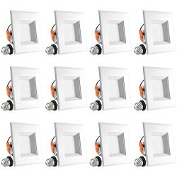 Luxrite 4 Inch Square LED Recessed Light, 10W (60W Equivalent), 3000K Soft White, 650LM, Dimmabl ...