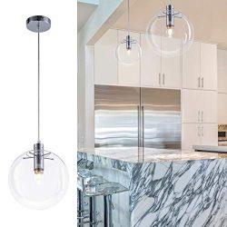 Bewamf Industrial Mini Pendant Lighting with Clear Glass Shade Modern Adjustable Edison Ceiling  ...