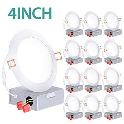 12 Pack 4 Inch Slim LED Recessed Lighting with Junction Box, 60W Eqv. ETL and Energy Star, 650 L ...