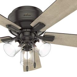 Hunter Fan 52 inch Noble Bronze Finish Ceiling Fan with LED Light Kit, 5 Blade (Renewed)