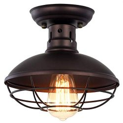 Vintage Industrial Mini Metal Cage Ceiling Light – MKLOT E26 Rustic Bronze Pendant Lightin ...