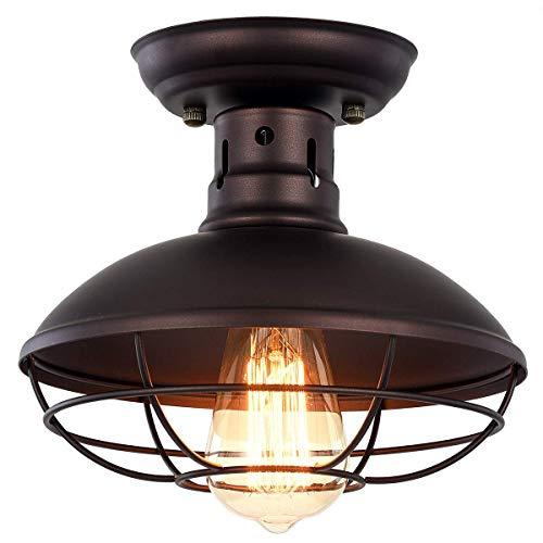 Vintage Industrial Mini Metal Cage Ceiling Light – MKLOT E26 Rustic Bronze Pendant Lightin ...