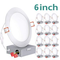 12 Pack 6 Inch Slim LED Recessed Lighting with Junction Box, 100W Eqv. ETL and Energy Star, 850  ...