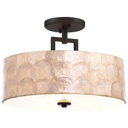 Kira Home Cove 15″ 3-Light Semi Flush Mount Ceiling Light, Seashell Shade + Glass Diffuser ...