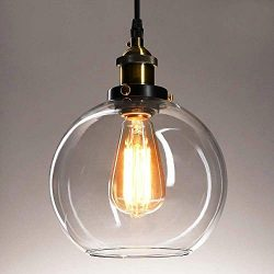 Frideko Vintage Ball Glass Ceiling Pendant Light – Industrial Style Globe Glass Lampshade  ...