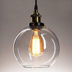Frideko Vintage Ball Glass Ceiling Pendant Light – Industrial Style Globe Glass Lampshade  ...