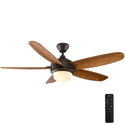 Home Decorators Collection Breezmore 56 in. LED Indoor Mediterranean Bronze Ceiling Fan with Lig ...
