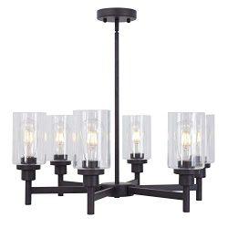VINLUZ 6 Light Industrial Chandelier Black Pendant Lighting Hanging Fixture with Cylinder Clear  ...