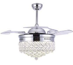 Bella Depot Modern Ceiling Fan Dimmable Chandelier Ceiling Fans with lights – Crystal ceil ...