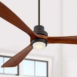 66″ Casa Delta-Wing Modern Ceiling Fan with Light LED Remote Control Oil Rubbed Bronze Woo ...