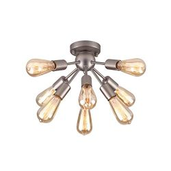 mirrea Mid-century Semi-flush Mount Sputnik Ceiling Light with 8 Lights for Foyer Entry Way Hall ...