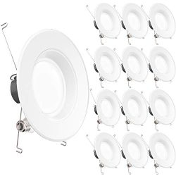 Sunco Lighting 12 Pack 5/6 Inch LED Recessed Downlight, Baffle Trim, Dimmable, 13W=75W, 4000K Co ...