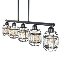 Baiwaiz Crystal Cage Pendant Lighting for Kitchen Island, Metal Black Industrial Pool Table Ligh ...