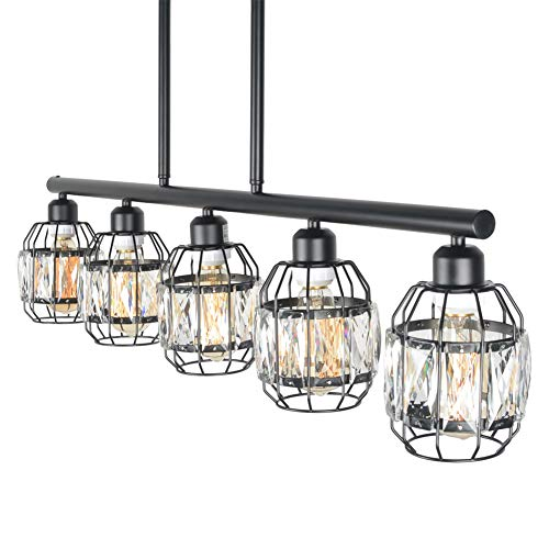Baiwaiz Crystal Cage Pendant Lighting for Kitchen Island, Metal Black Industrial Pool Table Ligh ...