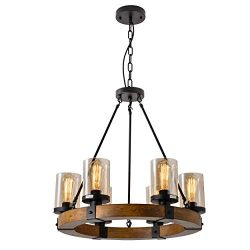 6-Light Farmhouse Pendant Lighting Wood Chandeliers, Candle Pendant Light, Glass Lodge and Taver ...