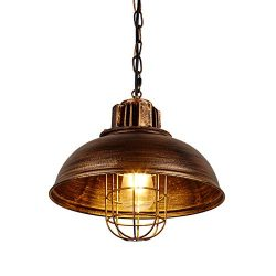AIDOS LED Pendant Light with Dome Black Shade for Bar, Rustic Hanging Pendant Lighting with Indu ...