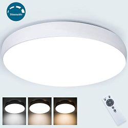 Dimmable Led Ceiling Light Fixture with Remote 40W,Airand Flush Mount Close to Led Ceiling Light ...