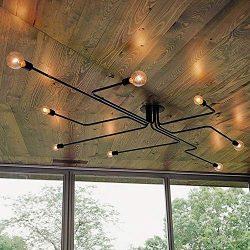 Industrial Edison 8 Lights Semi Flush Ceiling Light Vintage Wrought Iron Large Black Chandelier  ...
