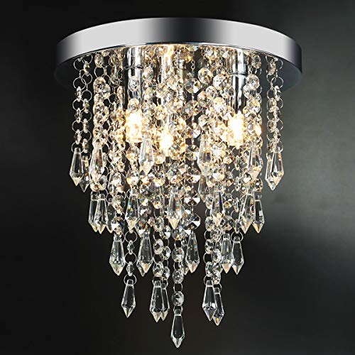 3 Lights Mini Crystal Flushmount Chandelier Fixture,Hong-in Crystal Ceiling Lamp, H10.4″  ...