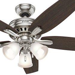 Hunter Fan 52 inch Brushed Nickel Ceiling Fan with a CFL Light Kit (Renewed) (Brushed Nickel)