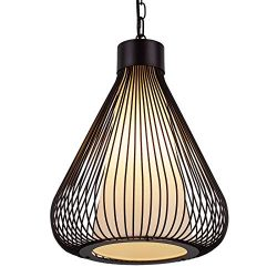 AIDOS Industrial Retro Cage Ceiling Pendant Light, Shades Metal Basket Lamp, Vintage Wire Pendan ...