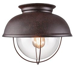 LALUZ Rustic Flush Mount Lighting Distressed Close to Ceiling Light Fixtures, Bronze Finish, 13  ...