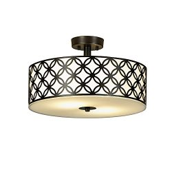 Popity home Double Drum Chandelier Flush Mount Ceiling Lights,Diameter 16 Inch 2 Lights