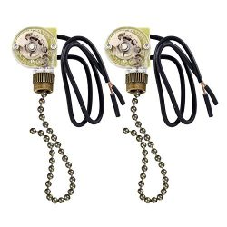 2 Pack Fan-Light Switch & Pull Chain, Electrical Pull Chain Switch,ON-Off, 6 A/125V AC, 6 in ...