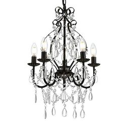 Riomasee Mini Crystal Chandelier 5-Light Bronze Chandeliers K9 Crystal Chandelier Lighting Iron  ...