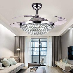 A Million 42″ Crystal Ceiling Fan Light with Retractable Blades Remote Control LED Chandel ...