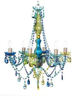 The Original Gypsy Color 6 Light Large Blue Green Gypsy Chandelier H26″ W22″, Silver ...