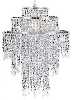 Waneway Large 3 Tiers Silver Sparkling Beads Pendant Shade, Ceiling Chandelier Lampshade with Ac ...