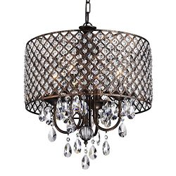 Edvivi Marya 4-Lights Antique Copper Round Crystal Chandelier Ceiling Fixture | Beaded Drum Shad ...