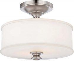 Minka Lavery Semi Flush Mount Ceiling Light 4172-84, Harbour Point Round Glass Lighting Fixture, ...