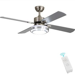 Brushed Nickel Ceiling Fan Light Fixtures – FINXIN Remote LED 48 Ceiling Fans For Bedroom, ...