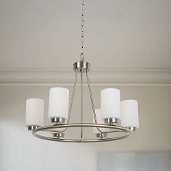 TODOLUZ 6 Light Farmhouse Brushed Nickel Island Lighting Round Chandelier with Opal White Cylind ...