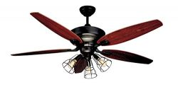 NOMA Ceiling Fan with Lights & Reversible Blades | Dimmable Edison Bulb Cage Lights and Remo ...