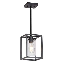 VINLUZ 1 Light Classic Farmhouse Glass Pendant Lighting Black Metal Hanging Fixture with Clear G ...