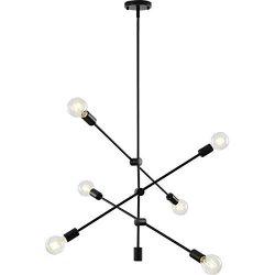 Sputnik Light Fixture Mobile Chandelier 6 Lights Modern Pendant Lighting Black Finish Contempora ...