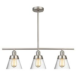 Modern Brushed Nickel Kitchen Island Lighting, Clear Seeded Glass Linear Chandelier, 3 Lights Pe ...